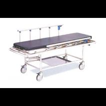 Φορείο Inox με σταθερό ύψος, τροχήλατο με στατώ ορού, πλαϊνά και στρώμα 1,90x0,63x0,80m