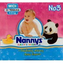 Παιδική πάνα Nannys baby's wish Midi 4-9 kg 22 τμχ