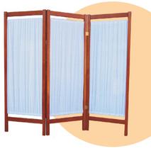Παραβάν 4Φυλλο ( Λευκό - Σιέλ - Σομόν ) Ξύλινο Από Οξιά Λουστραρισμένο